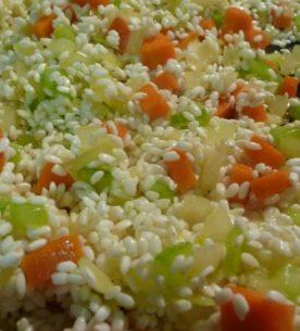 Minestra con riso e salame