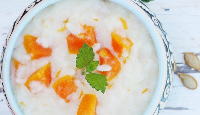 Minestra di riso al latte e zucca