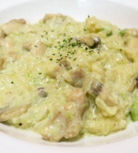 Risotto pollo funghi e zucchine