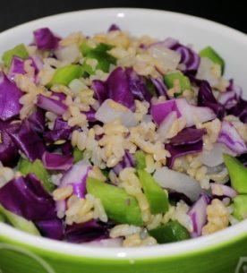 Riso integrale con coriandoli di verdure