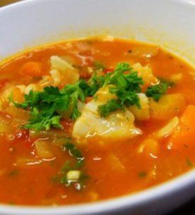 Zuppa di pesce e riso venere