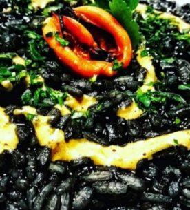 Risotto al nero di seppia con la maionese di cozze