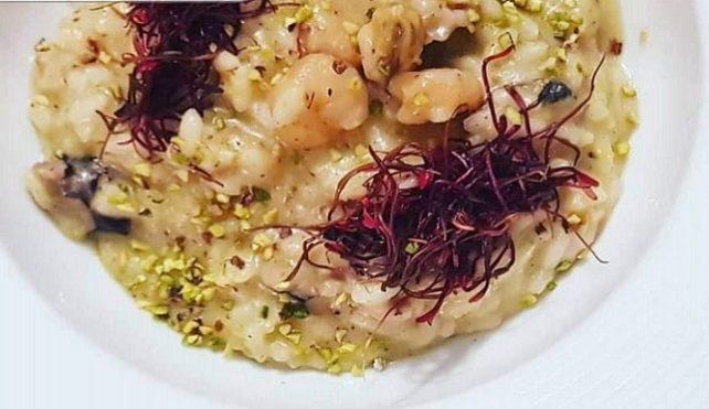 Risotto ai frutti di mare e pesto di pistacchio
