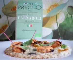 Il risotto con cozze, funghi e bottarga dello chef Francesco Capasso-Carnaroli Preciso