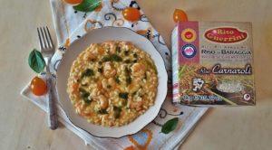 Impiattamento risotto con pomodorini e mazzancolle-Riso Guerrini