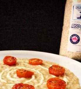 Risotto con crema di melanzane, salsa all'aglio e pomodorini -Drusiana