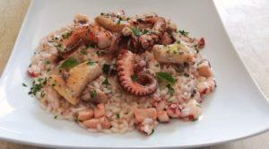 Impiattamento risotto con polpo, calamaro e pesce spada_Carnaroli Cascina Alberona
