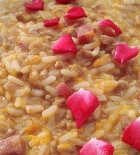 Farro risottato sfumato alla grappa con zucca e pancetta