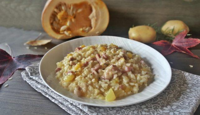 Risotto con zucca, patate e pancetta