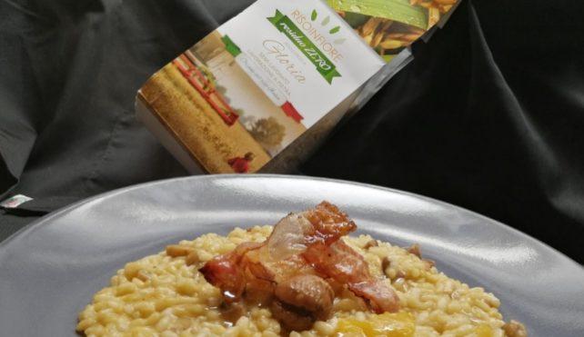 Risotto con cachi, castagne e lardo stagionato al pepe-Risoinfiore