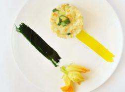 Risotto con fiori di zucca e zucchine