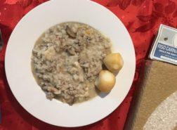 Risotto con funghi champignon, macinato di vitello e scamorza_Riso Carnaroli Cascina Alberona
