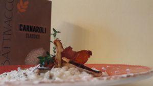 Impiattamento risotto con funghi porcini e formaggio di Fossa_Carnaroli Battivacco