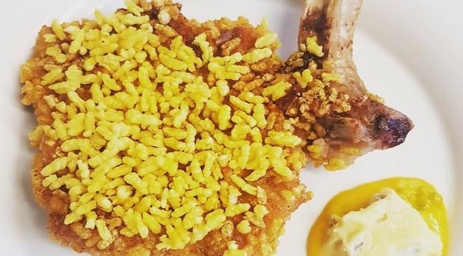 """La milanese """"tuttotondo"""" con risotto soffiato dello Chef Gianpiero Cravero"""