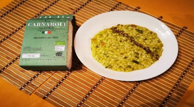 Risotto con asparagi, guanciale e granella di pistacchi_Riso Preciso