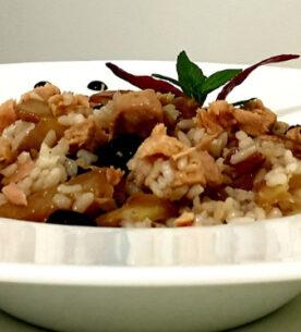 Insalata di riso con finocchi, tonno e mentuccia