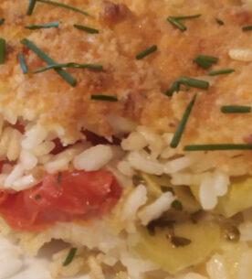 Torta di riso con pomodorini Pachino e zucchine trombetta