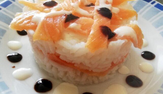tortino di riso con salmone e yogurt