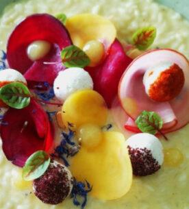 Risotto con barbabietole multicolor in agrodolce, formaggio di capra irlandese st. Tola e gel di limone candito