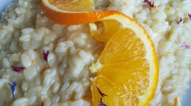 Risotto con gamberi e arancia