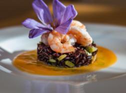 Medaglione di riso nero di Sibari all'ortolana su crema di zucca gialla con insalata di gamberi