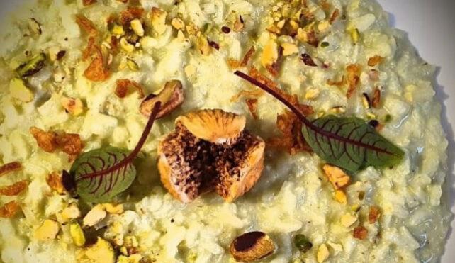 Risotto con crema di pistacchi e fichi