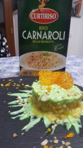Impiattamento risotto profumato all'arancia con mandorle e mayo al prezzemolo_Carnaroli Curtiriso