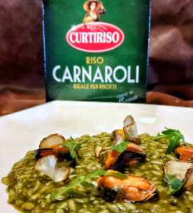Risotto con rucola, aglio nero e cozze marinate_Carnaroli Curtiriso