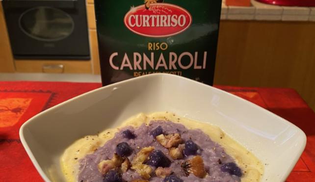 Risotto al cavolo viola con castagne su fonduta di fontina_Carnaroli Curtiriso