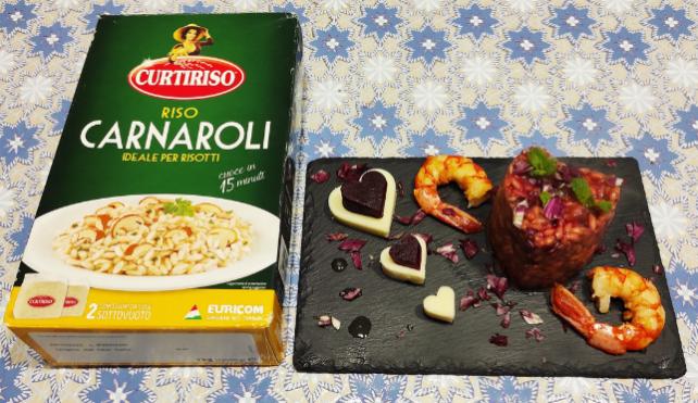 Risotto con radicchio rosso, gamberi ed emulsione al lime_Carnaroli Curtiriso