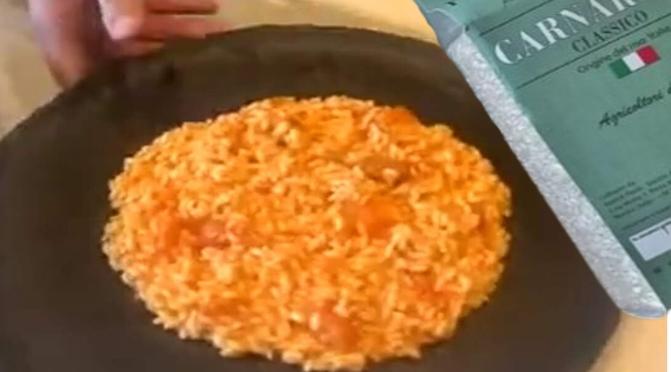Dalla diretta instagram, il risotto all'amatriciana di Chef Delio con Riso Preciso