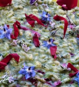 Risotto con asparagi, ortiche e petali di rose