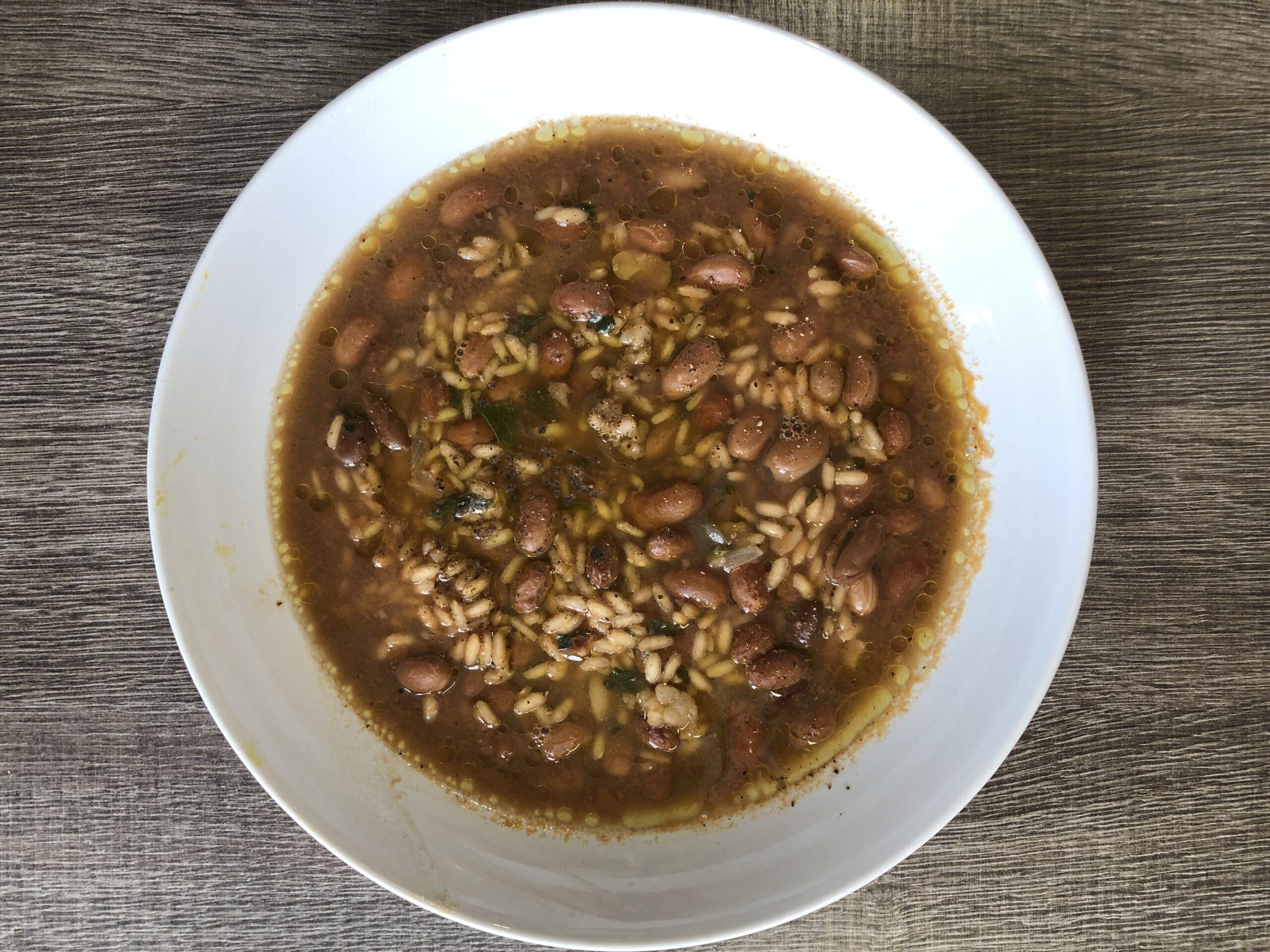 minestra di riso e fagioli borlotti