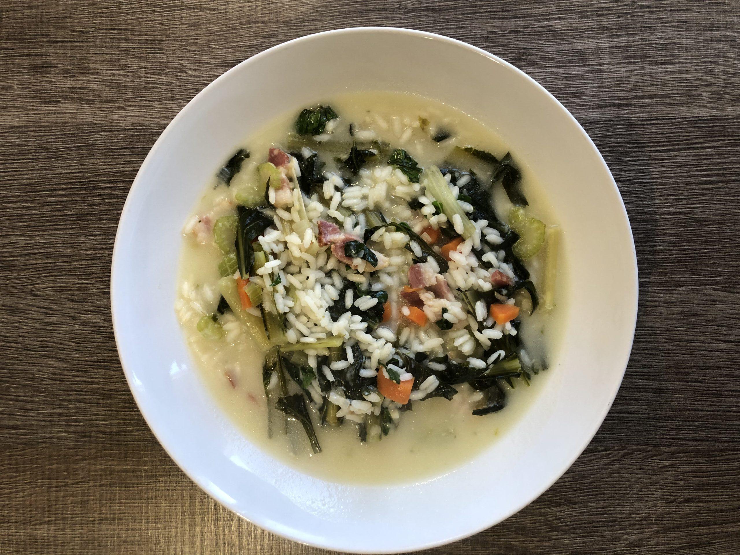 minestra di riso e cicoria