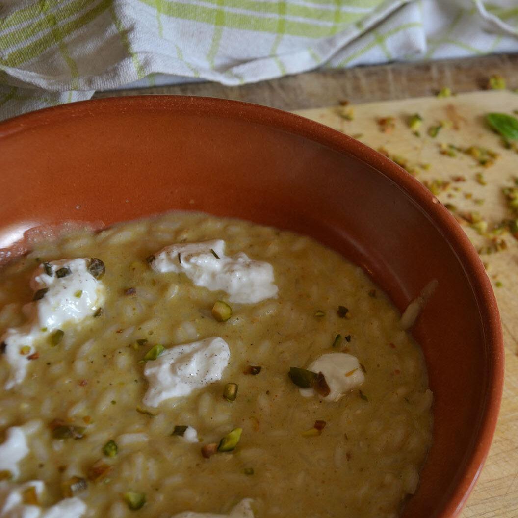 risotto con pistacchi e burrata